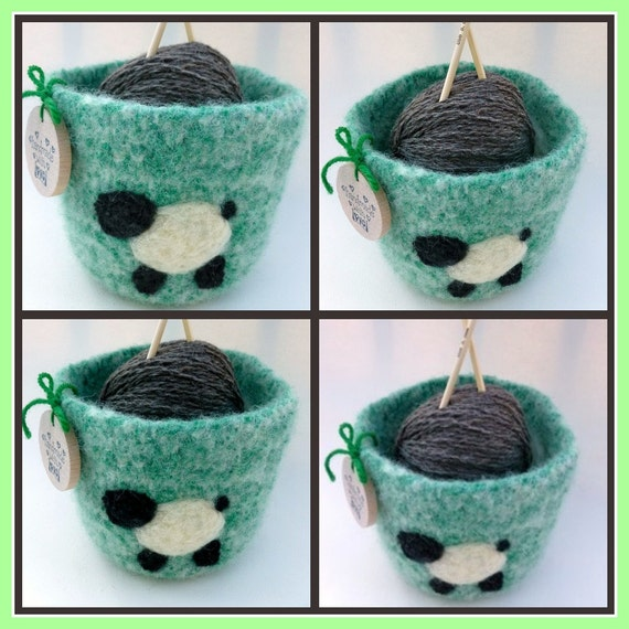 Felted wool bowl with Surprise knitting ball with sheep and needles