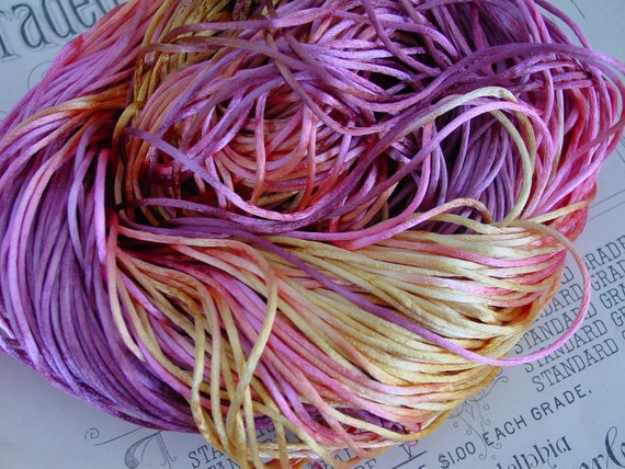 LAST ONE- Hand-dyed cord in lovely Vintage Rose Garden, 10 yards