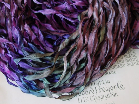 New Color - Hand dyed Fairy Forest Curly Black ribbon, 5 yards