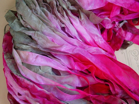 LAST ONE - Hand dyed Fuschia Rose ribbon, over 6 yards