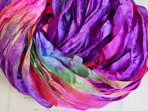 LAST ONE - Hand Dyed Summer Carnival half inch ribbon, 5 yards