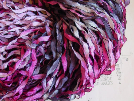 LAST OnE -Hand dyed ribbon - MIDNIGHT ROSE Curly Black ribbon, 5 yards