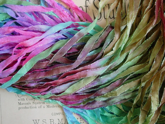 LAST - OnE Hand Dyed Ribbon  - VINTAGE PETALS glitters ribbon, 5 yards
