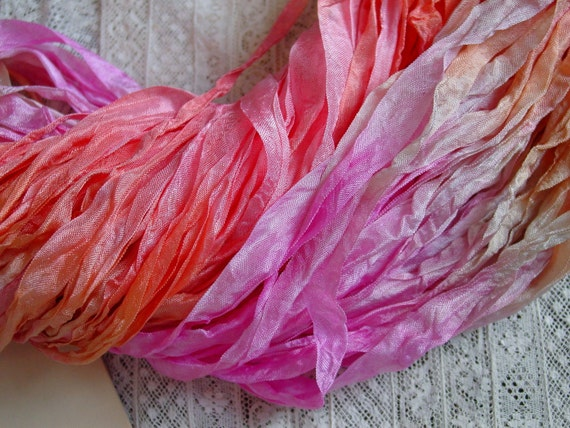 New - Hand Dyed BLOSSOM half inch ribbon, 5 yards