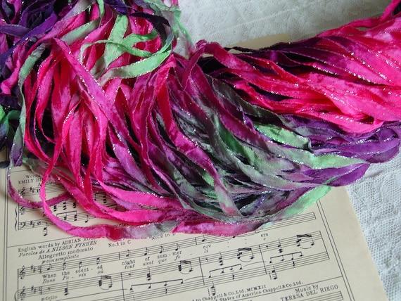 LAST OnE - Hand Dyed ribbon SWEET PEA glitters ribbon, 6 yards
