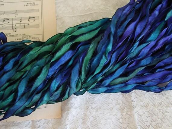 LaST ONE - Hand dyed ribbon - new ROYAL PEACOCK Curly Black ribbon, 8 yards