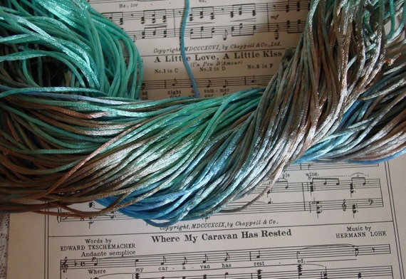 LAST OnE  - Hand-dyed silky cord in beautiful SEASHORE DREAMS, 10 yards