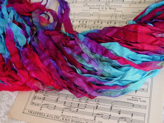 LAST ONE - Lovely Hand Dyed Over The Rainbow, half inch wide ribbon, 9 yards