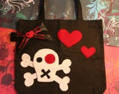 I Heart Skulls Tote Bag with Bow (Handsewn)