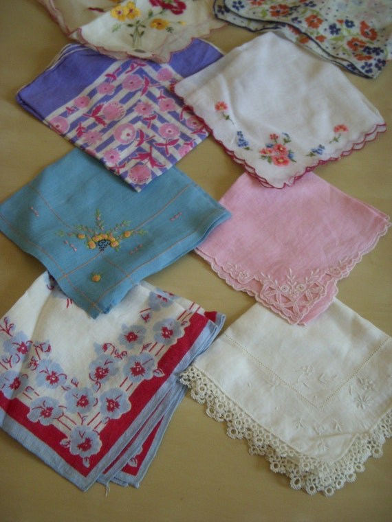ON HOLD-SALE set of 9 Vintage embroidered handkerchiefs