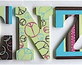 Personalized 9 inch wood hand-painted letters - Reserved for bugbenz