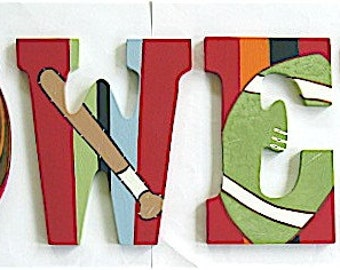 Personalized 9 inch wood hand-painted letters - Custom Order