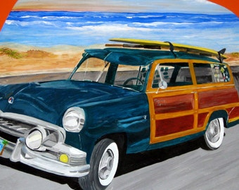 San Diego Art - Original Ford Woody Painting at Mission Beach