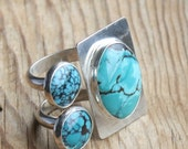 Contemporary Turquoise Double Band Ring