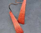 LONG Textured Copper Red Wax Earrings