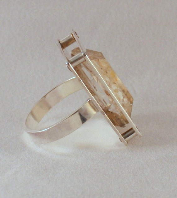 Riveted Dendritic Agate Quartz Ring