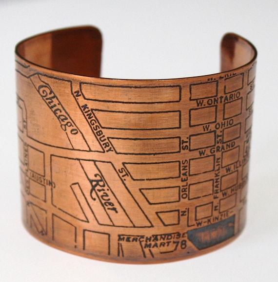 Chicago Map Copper Cuff Bracelet - River West
