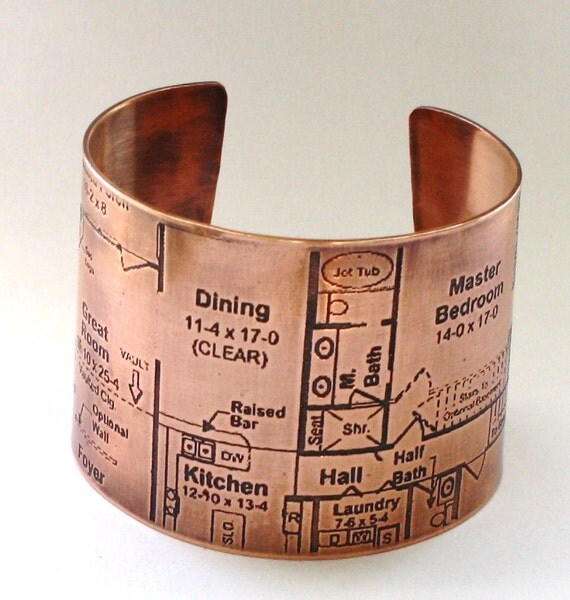 Blueprint Etched Copper Cuff
