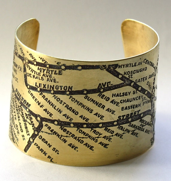 Brooklyn Subway Map Cuff Bracelet - Brass
