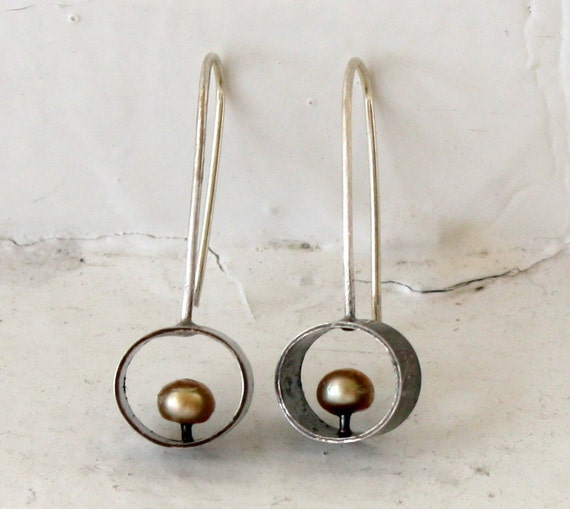 Oxidized Silver Frame Floating Pearl Earrings