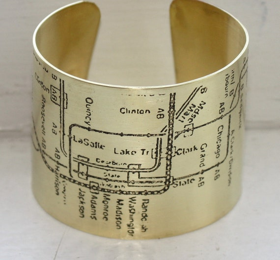 Etched Chicago CTA cuff - Brass