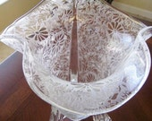 Vintage Depression Glass Vase  Clear and Frosted