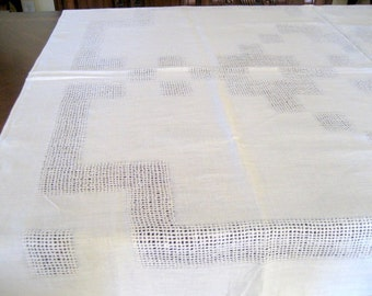 Vintage Beige Linen Tablecloth 56 X 72