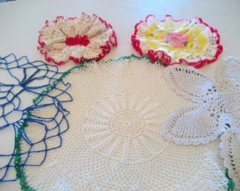 Vintage Crochet Dollies  Circa 1940s.  Set of 5