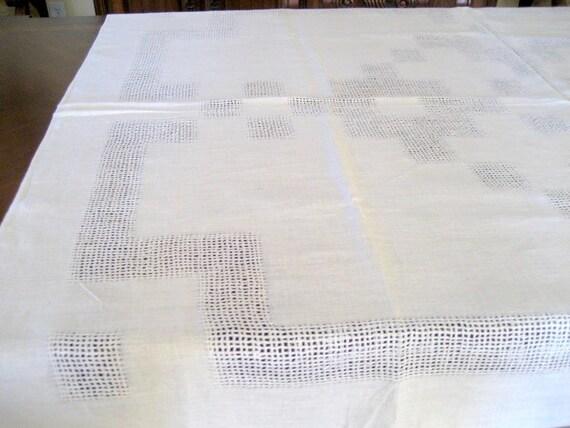 Vintage Beige Linen Tablecloth 56 X 72