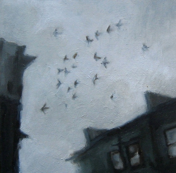 Winter sky in Glasgow - original oil painting