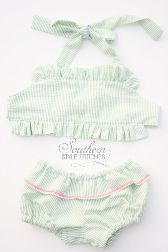 Seersucker Swimsuit READY TO SHIP size 12 months