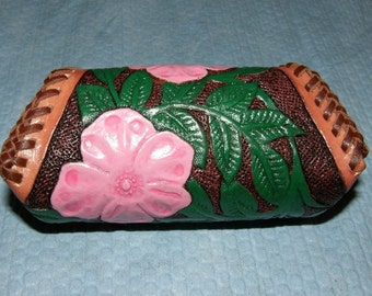 Flower Design Custom Carved Leather Coin Purse