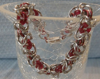Byzantine Chainmaile Bracelet with Red czech glass donuts