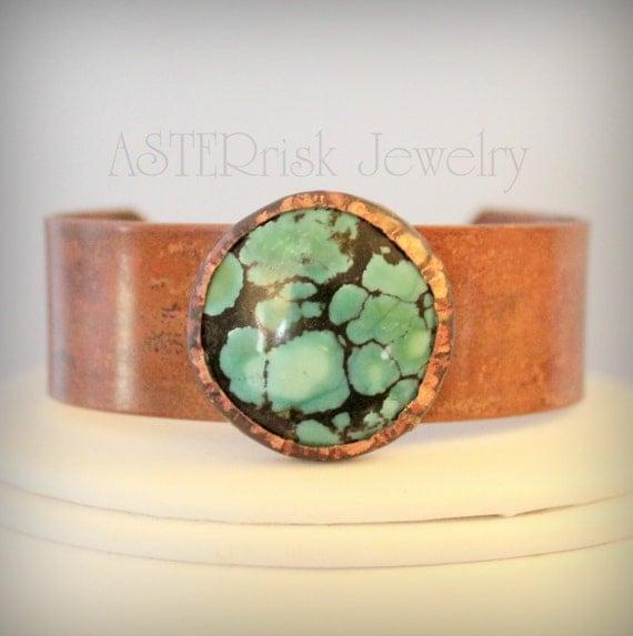 SALE Bracelet - Cuff Copper Turquoise Patina