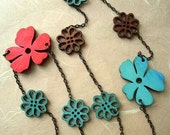 Flower Power Wood and Bronze Necklace