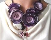 Seahorse Garden Purple Flower Necklace With Glass Pendant by rokdarbi4u2 on Etsy