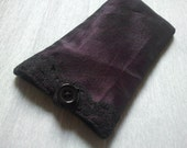 Night Purple Phone Sleeve / phone sock / phone pouch / with lace
