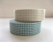 Japanese Masking Tape Set of 2 - Blue and Gray Teal Grid