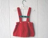 Vintage 1960s RED VELVET Toddler Girls Jumper
