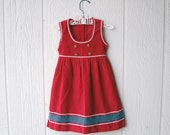 1970s red vintage RIC-RAC girls jumper dress