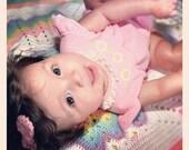 vintage pink flutter sleeve baby onesie (6 month)