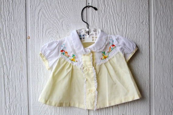 60s Vintage Yellow Embroirdered Baby Dress & Bloomers