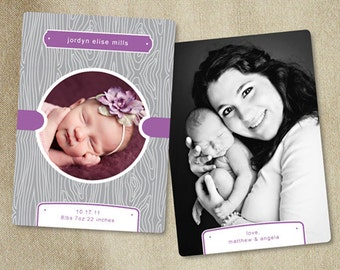 Sale! Templates for Photographers - Woodgrain Photography Template (Gray & Purple) - b0017 - Photoshop Templates