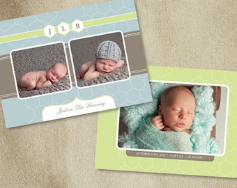 Templates for Photographers - Photoshop Template Photography Birth Announcement (Green & Blue) - b0003 - Photoshop Templates