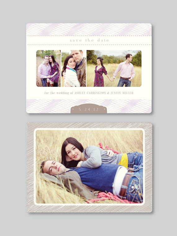 Sale! Vintage Save the Date Design for Photographers - 5x7 Horizontal - s0030 - Wedding Photography Photoshop Template