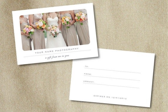 Gift Card Template for Photographers - Instant Download - m0013