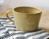 Set of two frog mugs - wheel thrown stoneware pottery in pepper yellow