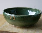 For alicelean - large wheel thrown salad bowl in forest green