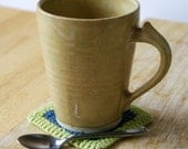 For sieue two spicy chai latte mugs - stoneware pottery mugs glazed in yellow