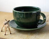 One forest green cappuccino cup - hand thrown stoneware pottery